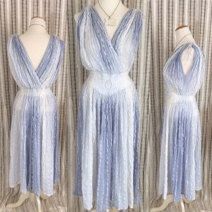 Greek Baby Blue Cloudy Sky Dress Embroidered